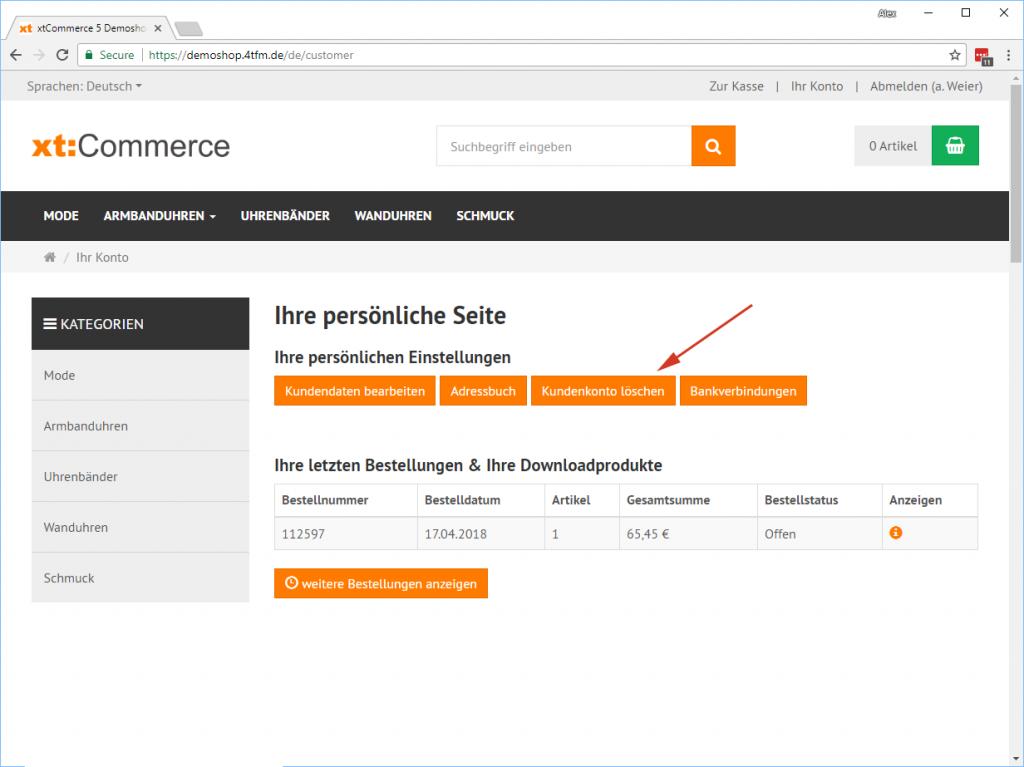 xt:Commerce Kundenkonto löschen Account-Seite