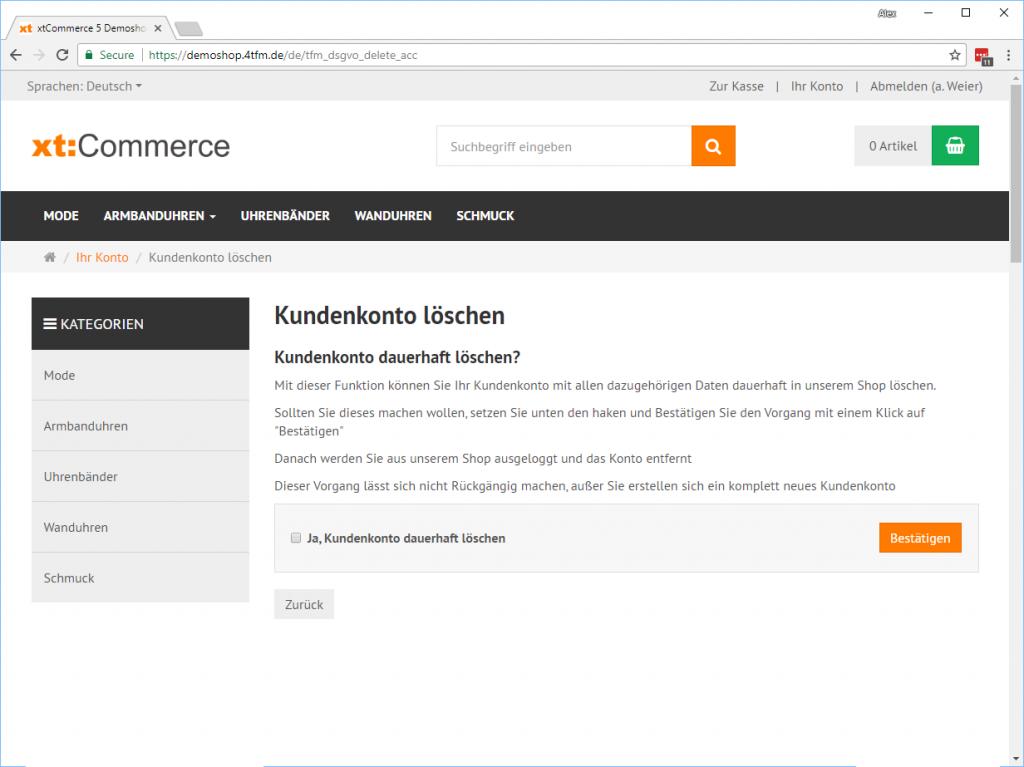 xt:Commerce Kundenkonto löschen Account-Bestätigen
