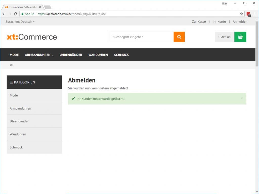 xt:Commerce Kundenkonto löschen Account - Bestätigung