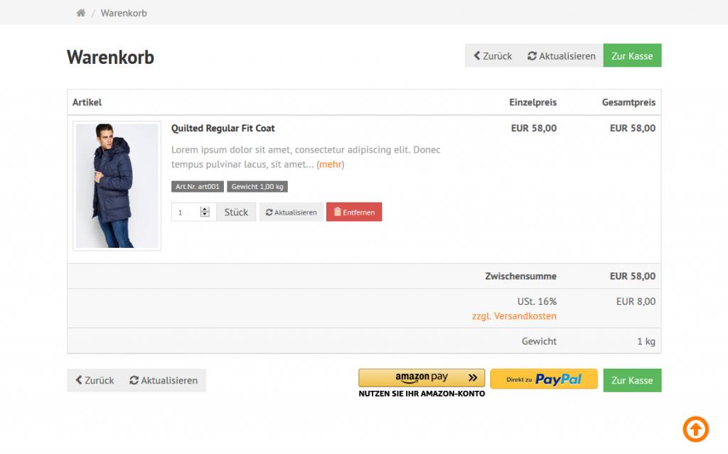 Amazon Pay - Warenkorb Button