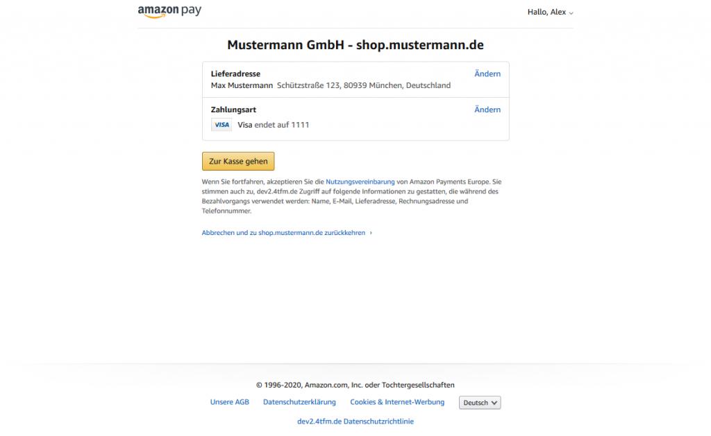 Amazon Pay - Zahlungsart bei Amazon wählen