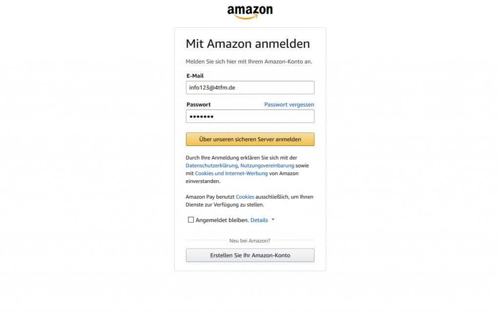Amazon Pay - Anmelden bei Amazon