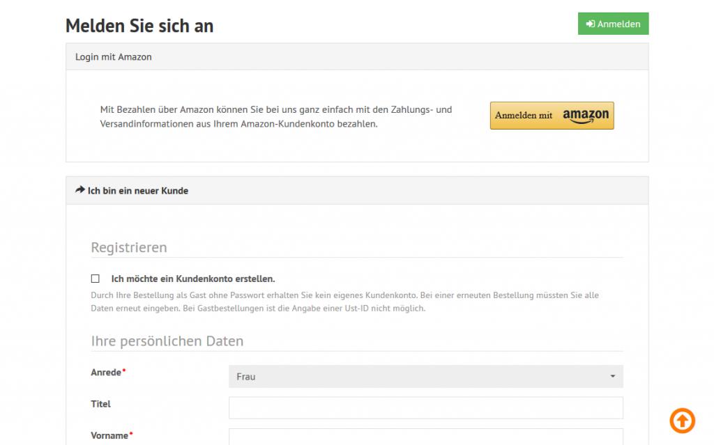 Amazon Pay - Registrierseite