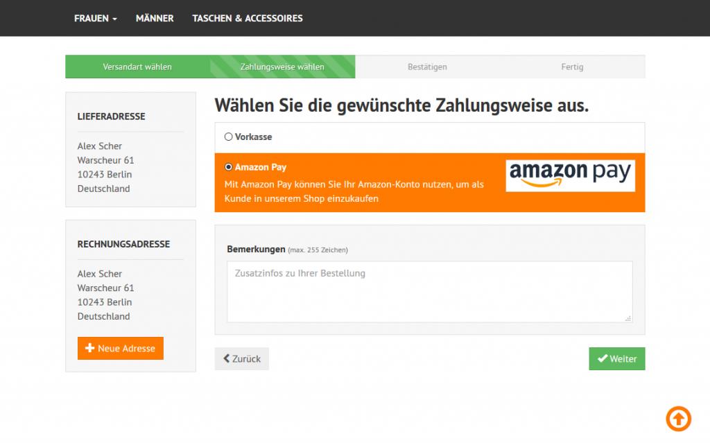 Amazon Pay - Alternative Auswahl im normalen Checkout